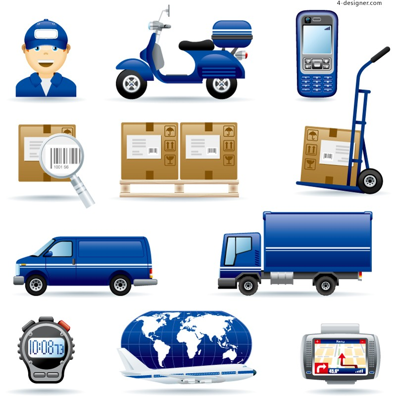 Cartoon logistics element vector material