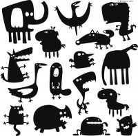 Cartoon monster silhouette vector material