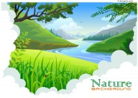 Cartoon natural scenery vector material