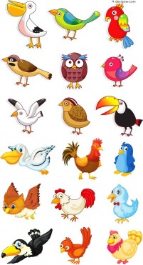 Cartoon poultry and birds vector material