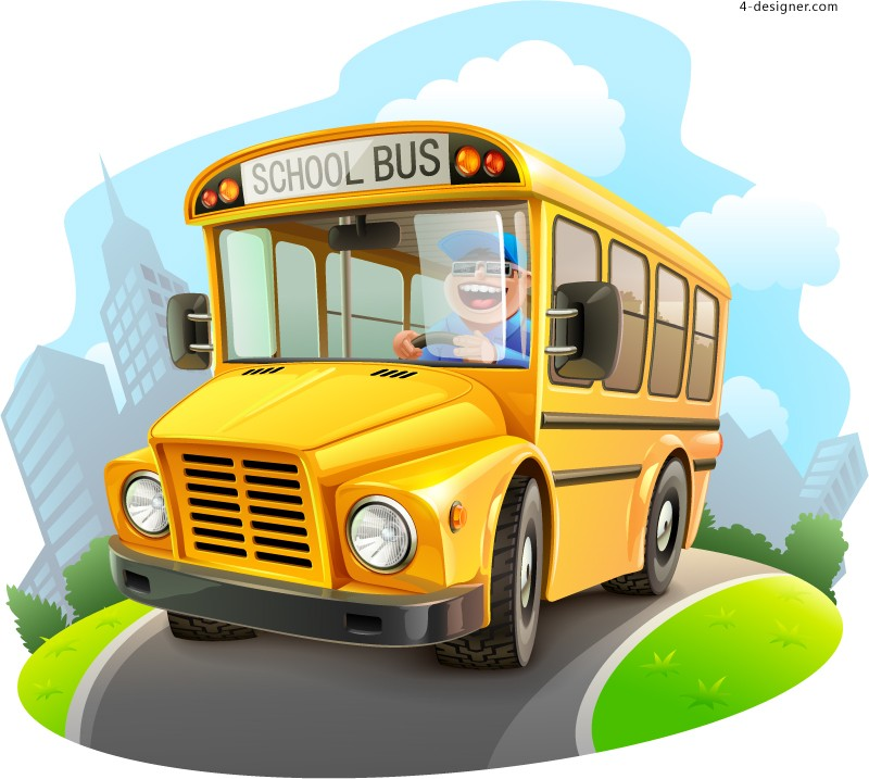 Cartoon school bus illustrator vector material