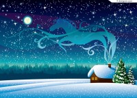 Cartoon snowy night wilderness illustrator vector material