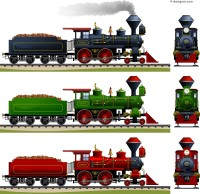 Cartoon steam train vector material