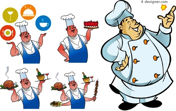 Cartoon style chef role vector material