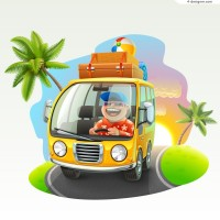 Cartoon tourist bus vector material