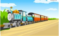Cartoon train illustrator vector material