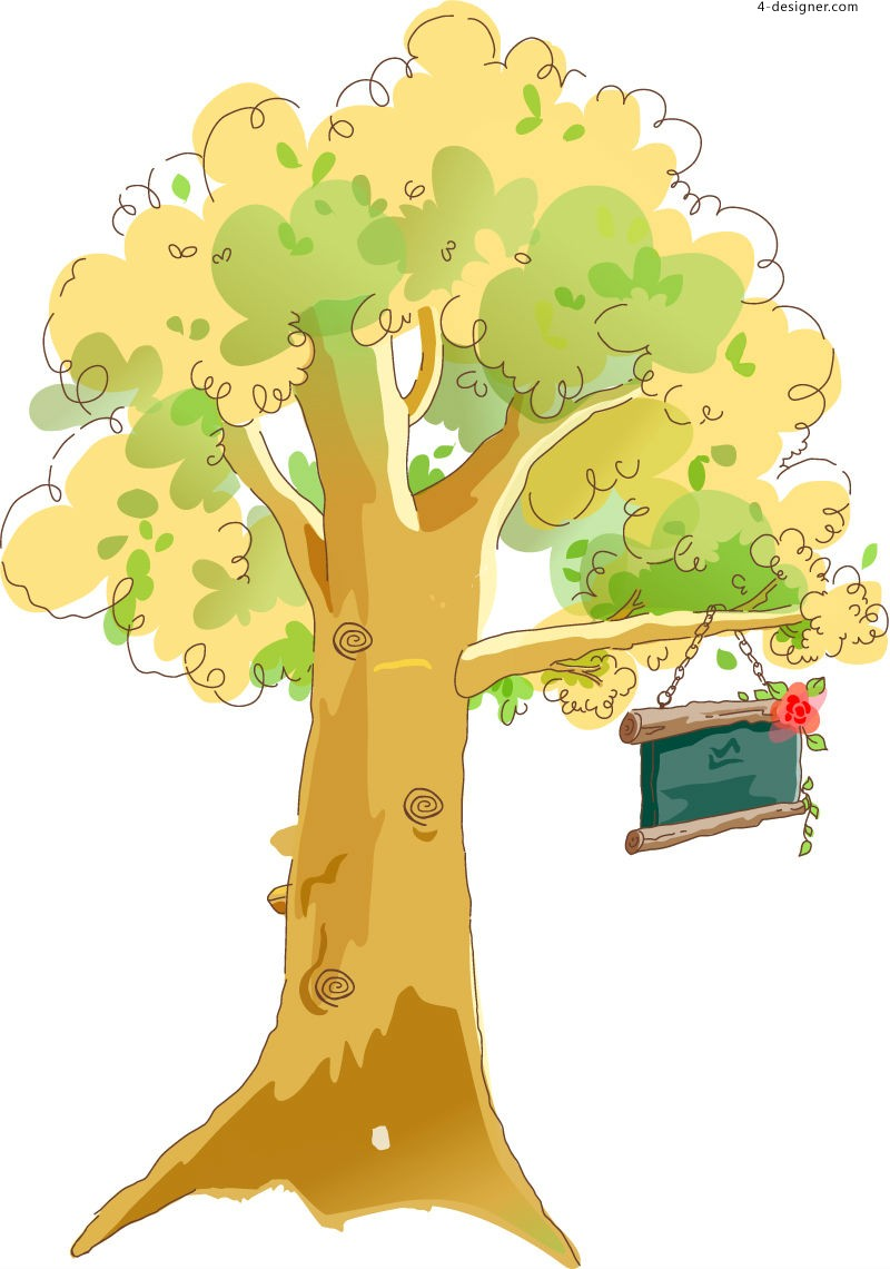 Cartoon trees and signboards vector material
