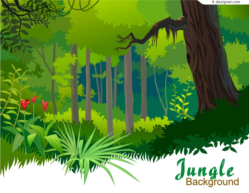 Cartoon tropical forest vector material