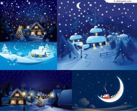 Cartoon winter landscape vector material