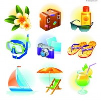 Casual seaside resort icon vector material