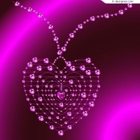Charming purple heart shaped crystal necklace vector material
