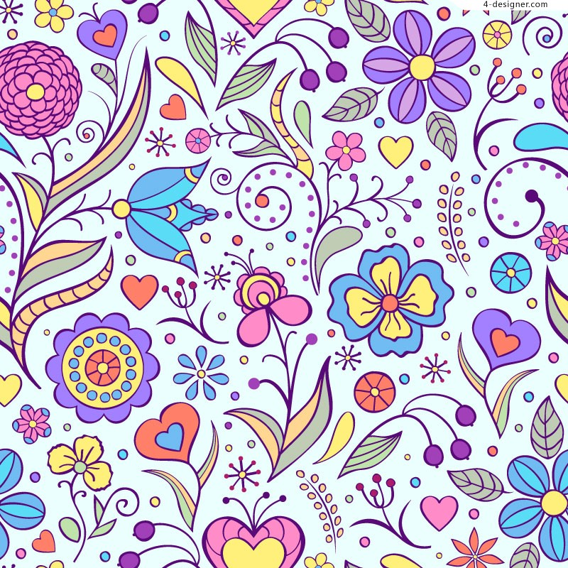 Childlike hand painted flower design vector material