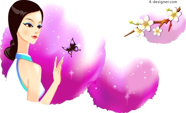 Chinese classical charming beauty vector material