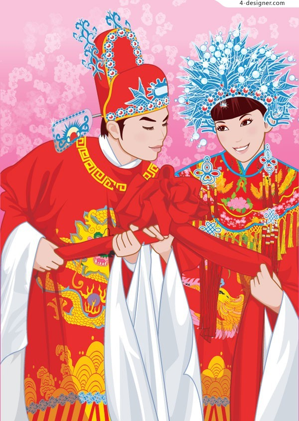 Chinese traditional costumes newlyweds vector material