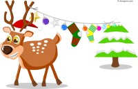 Christmas elk cartoon vector material
