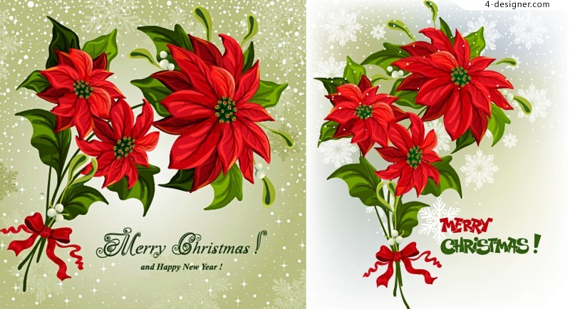 Christmas flowers vector material