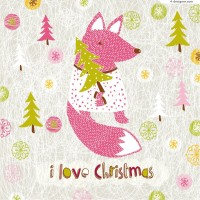 Christmas fox background vector material