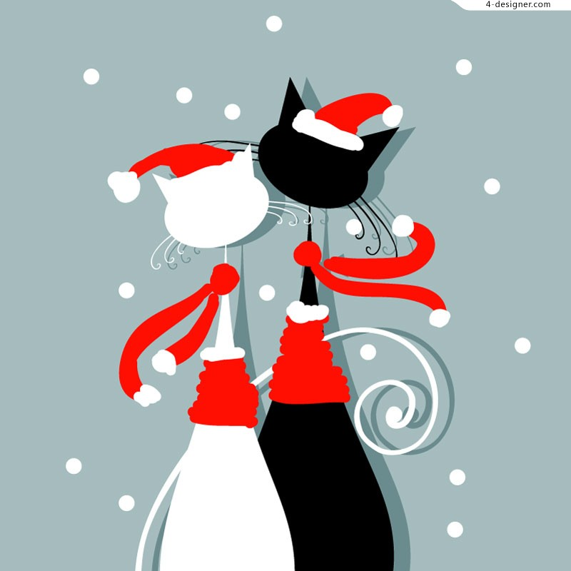 Christmas lovers cat illustrator vector material