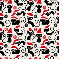 Christmas naughty black cat vector material