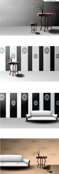 Classical European furniture and background vector material