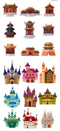 Classical castle hall vector material