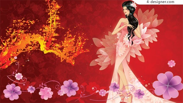 Classical fantasy beauty and pattern vector material