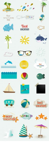 Color Summer vacation icons vector material