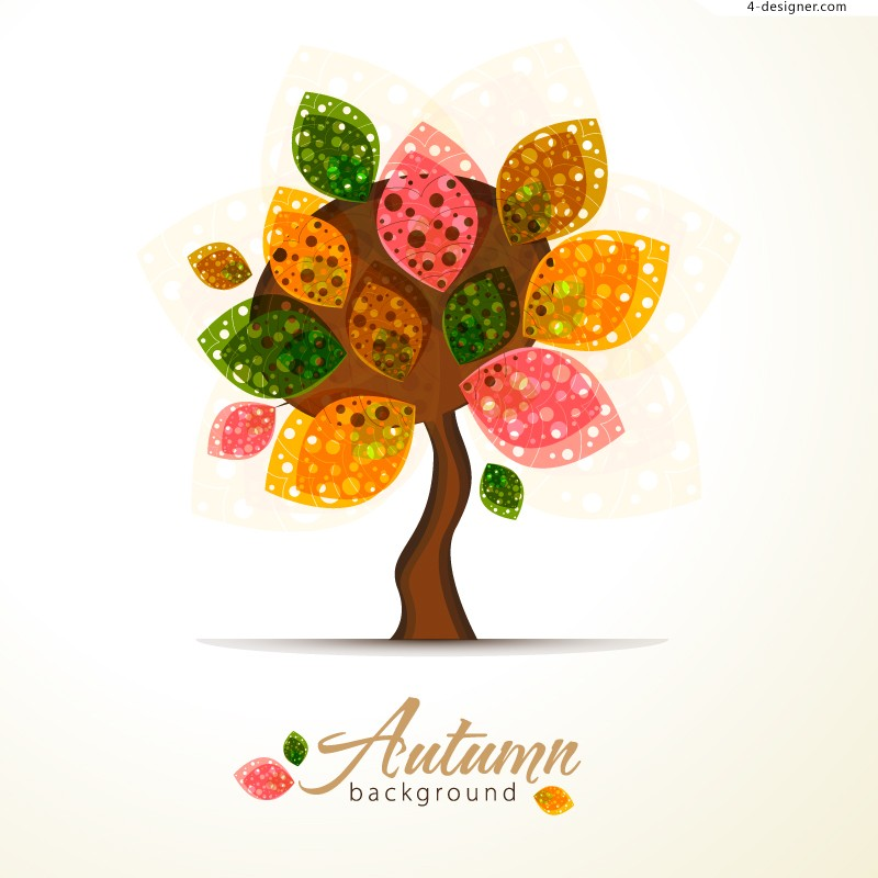 Color abstract autumn tree vector material