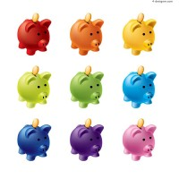 Color piggy bank vector material