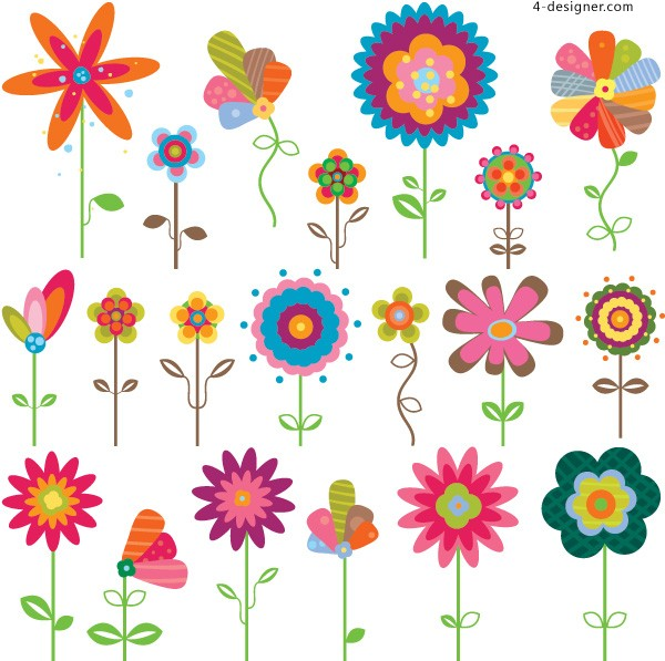 Colored cartoon flowers label vector material