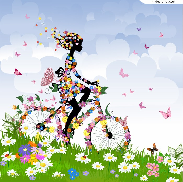 Colorful Spring woman silhouette vector material 2b5e517b6