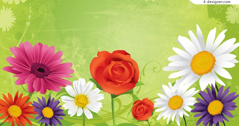 Colorful flowers background vector material