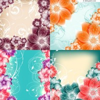 Colorful flowers frame vector material