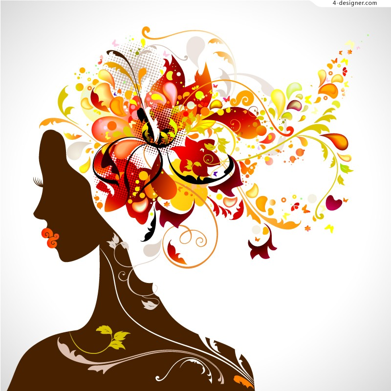 Colorful flowers woman avatar vector material
