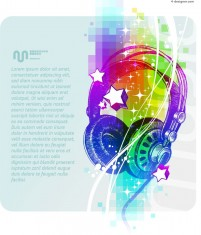 Colorful headphones illustrator vector material
