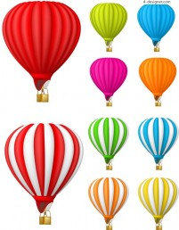 Colorful hot air balloon vector material