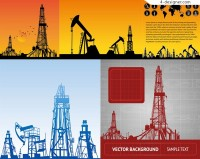Construction equipment silhouettes vector material