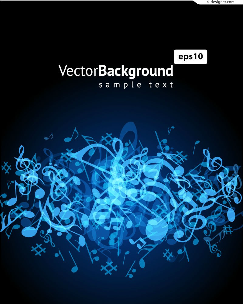 Cool blue notes background vector material