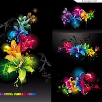 Cool flowers vector material