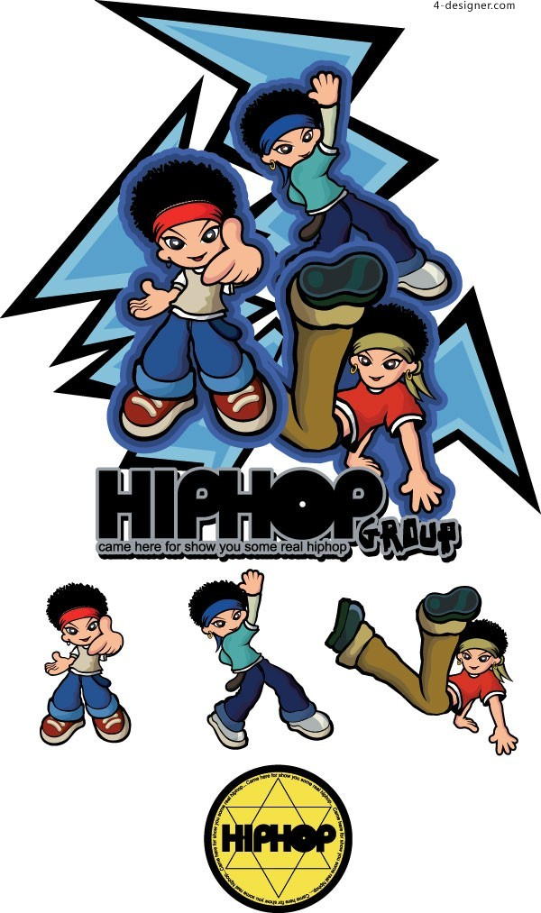 Cool hip hop cartoon character vector material