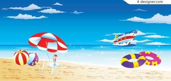 Cool holiday sea scenery vector material