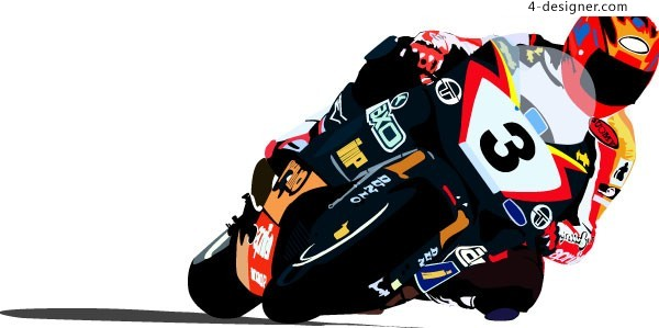 Cool motorcycle racer vector material