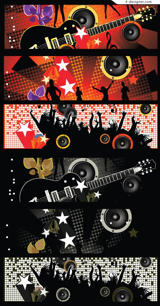 Cool music banner vector material