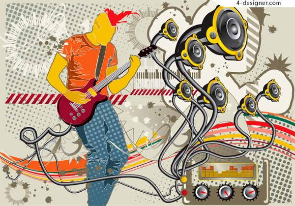 Cool music boy vector material