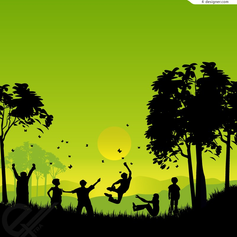 Country play silhouette vector material