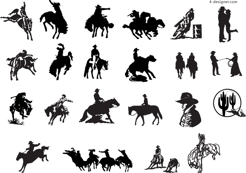 Cowboy silhouette vector material