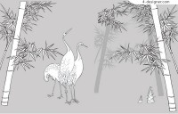 Crane and bamboo line drawing vector material