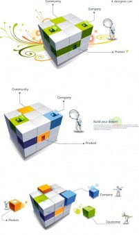 Creative 3D Cube world and the Character vector material