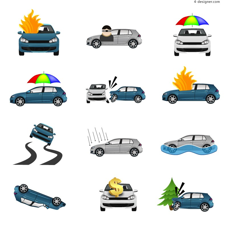 Creative Auto Insurance icon vector material