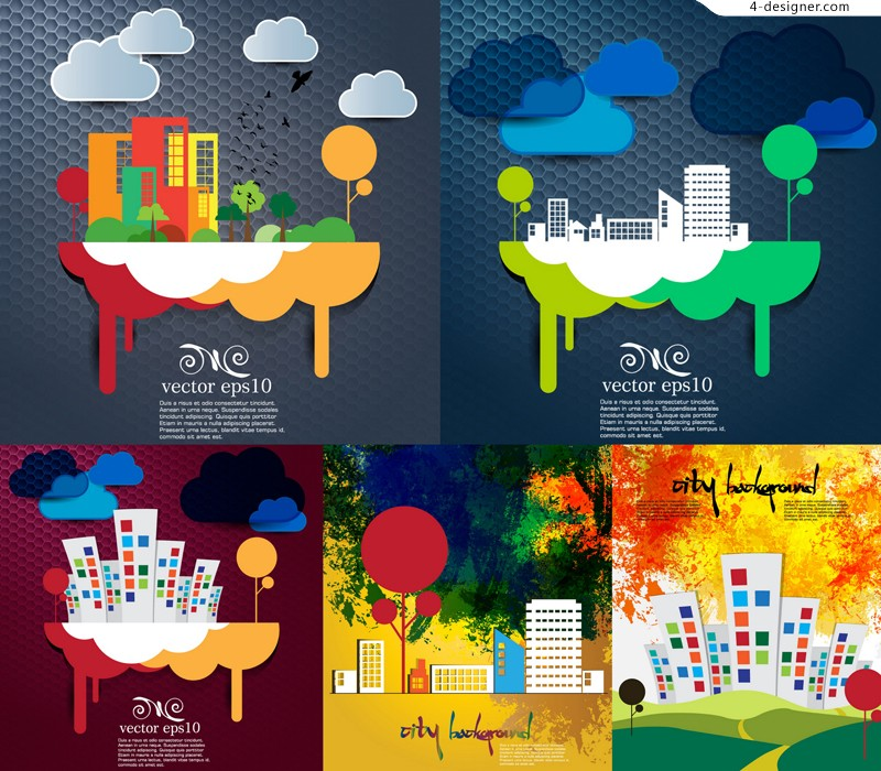 Creative City background vector material